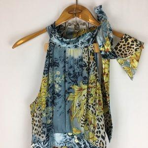 Periwinkle Patterned Sleeveless Halter Swing Dress